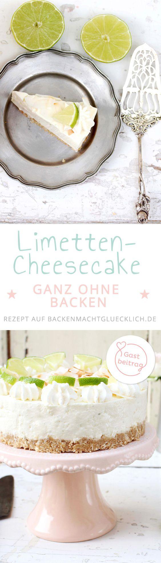 Sommerlicher Cheesecake ohne Backen: Diese Kühlschranktorte mit Limette, Kokos und Keksknusperboden schmeckt wunderbar erfrischend und ist schnell zubereitet.