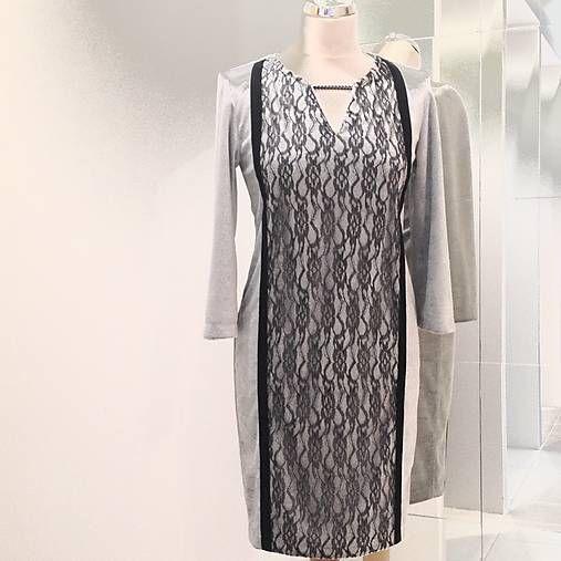 LuxuryCouture / Módne zamatové šaty s čipkou