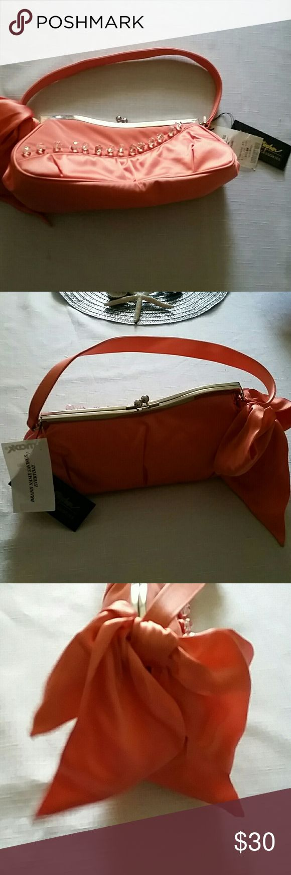 """Inge Christopher purse Peach satin Inge Christopher handbag. Clear crystal button looped trim on front. Silver kiss lock top closure. 10""""×4""""×2.5"""". Never used. inge Christopher Bags"""