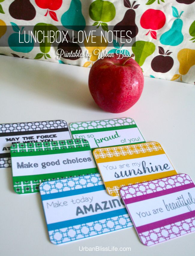 FREE Printable: Lunch Box Love Notes for back to school!