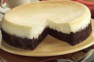 Brownie bottom cheesecake - use boxed brownie mix for the base (ghirardelli) much easier