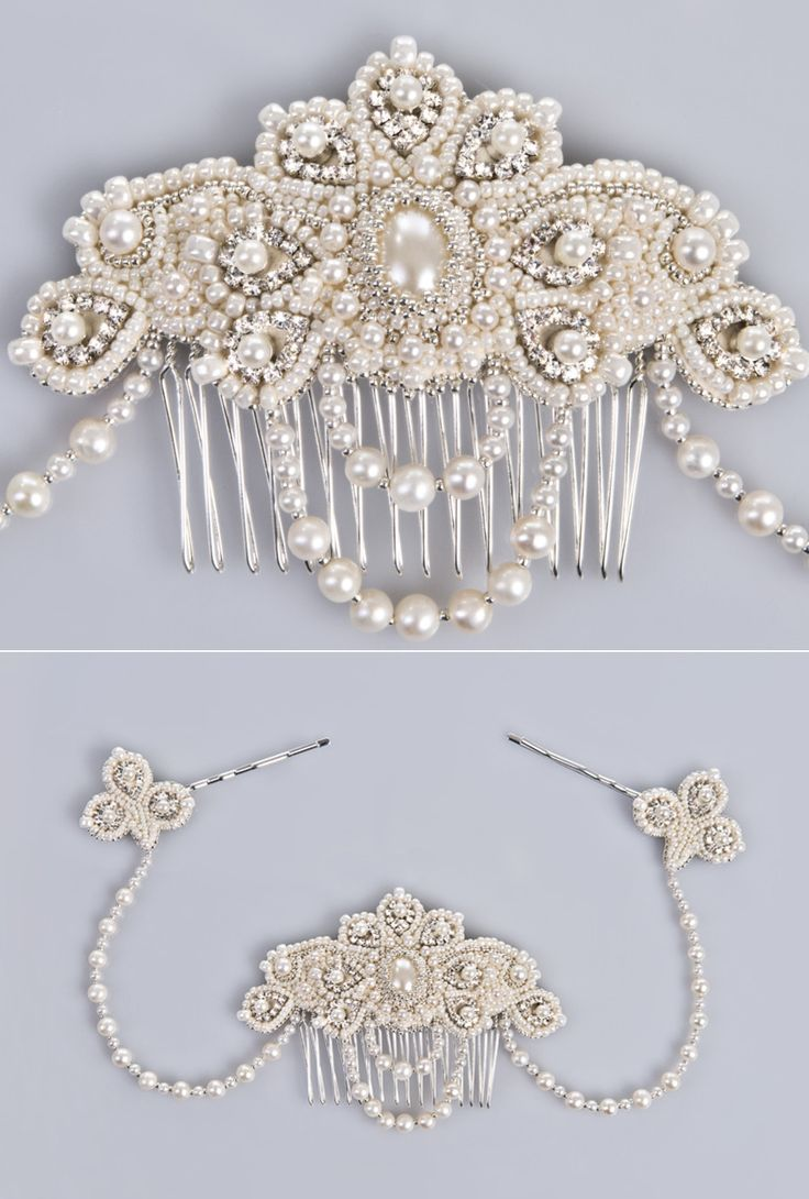 Freshwater pearl and crystal bridal hair jewelry / headpiece