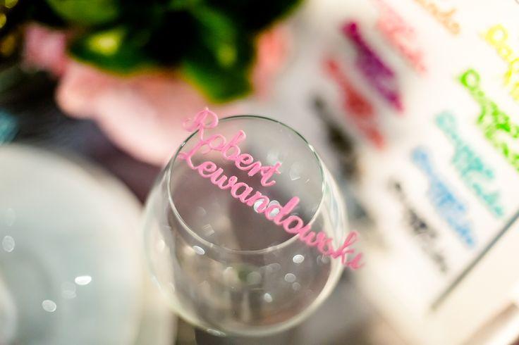 Winietka na stół weselny w kieliszku