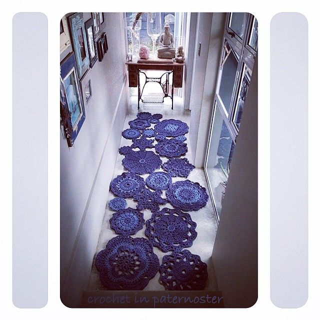 #crochet mandala rugs in the hallway - Meet Anneke from CrochetInPaternoster