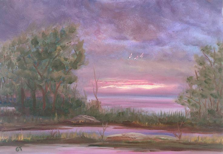 Üç kuş, 35x50, oil&canvas, #threebirds #gurseltokmakoglu #artist #artworks #art #sanat #paint #tablo #yağlıboya #oiloncanvas #plain #landscape #paintings  #finearts #paintworks #original #oilpaintings #birds