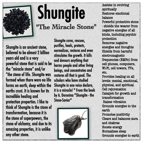 """The Extremely Powerful Stone SHUNGITE One of the most powerful healing stones ever discovered. Shungite cures, rescues, purifies, heals, protects, normalizes, restores and even stimulates the growth. It kills and devours anything that harms people and other living beings, and concentrates and restores all that is good. The scholars who have studied Shungite in one voice declare, it is a miracle! """" From the book by A. Doronina """"Shungite - the Stone-Savior"""" Healing Stones And Crystals Jewelry"""
