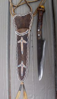 Contemporary Makers: Neck Knife by Gen Mock with Quilled Sheath by Shawn Webster for Jerry Rice
