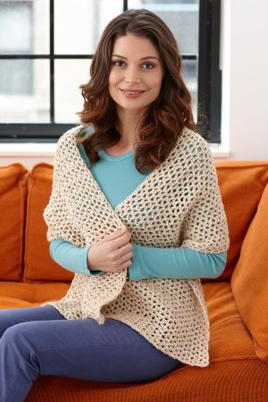 """Easy, fast shawl.  Perfect for the """"too cool"""" office--summer or winter!  Free pattern."""