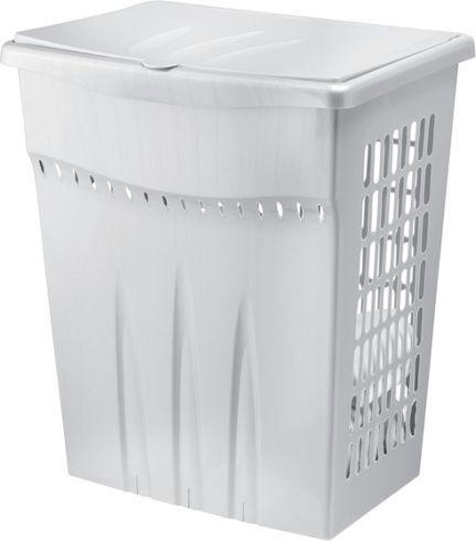 Moderner Wäschekorb aus robustem Kunststoff in Silbergrau