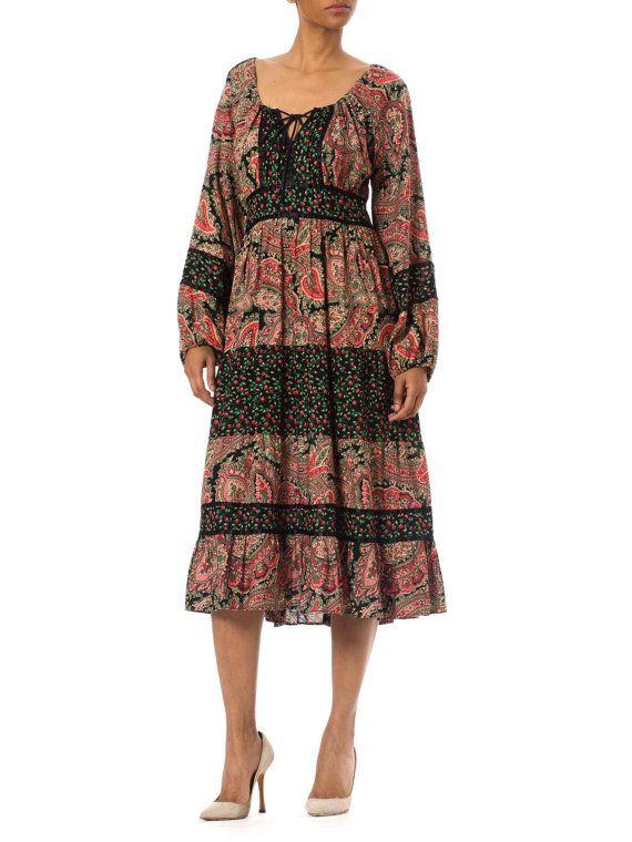 1960s Vintage Colorful Paisley Print Patchwork Dress Size: S/M