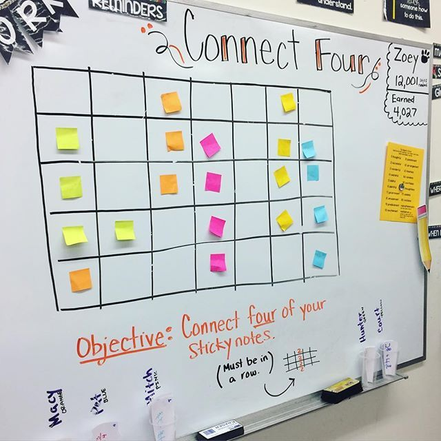 review game - Each group had a cup filled with ten review questions based on what we've learned in math this year. The students worked together to solve the questions one at a time. If they got the right answer, they got to go place one of their sticky notes on the board. (Each team had their own color.) I only gave them four sticky notes total. If....