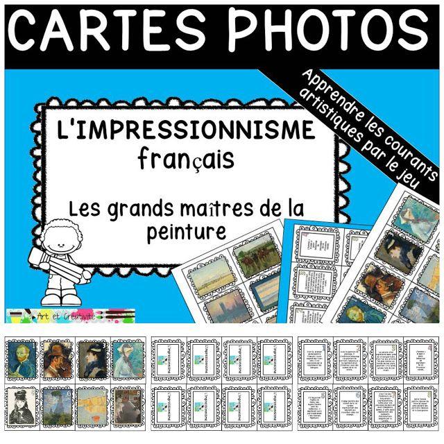 ressources artistiques et éducatives: La PEINTURE IMPRESSIONNISTE française-Cartes de jeu