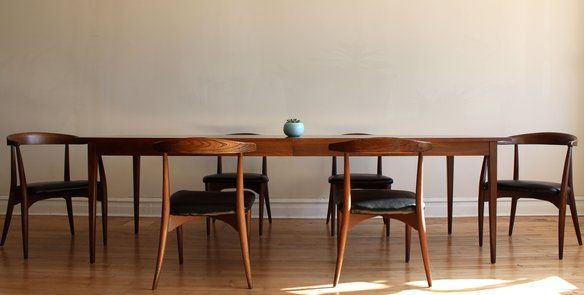 Lawrence Peabody Mid Century Modern Dining Set Vinyls Dark and