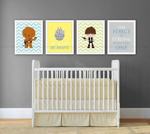 Star Wars Boy Nursery Decor Han Solo Chewbacca Millennium Falcon The Force Is Strong With This One Set Of 4 Prints Item No 054