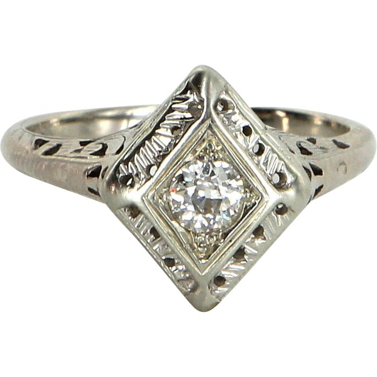 Vintage art deco diamond ring estate 14 karat white gold for 14 karats fine jewelry