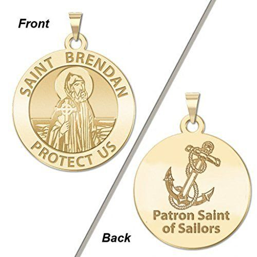 CHAIN IS NOT INCLUDED Available in Solid 14K Yellow or White Gold or Sterling Silver Size Reference: 17mm is the size of a US dime 21mm is the size of a US nickel 24mm is the size of a US quarter St. Brendan called the Navigator the Voyager or the Bold is one of the early Irish monastic saints whose legends reflect their history. He is chiefly renowned for his semi-legendary quest to the Isle of the Blessed. The Voyage of St. Brendan could be called an immram (Irish voyage story). He was one…