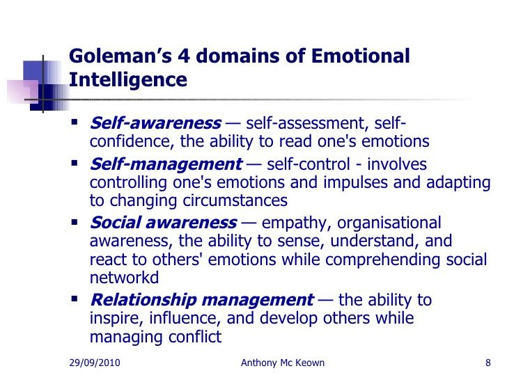 emotional intelligence self assessment essay Emotional intelligence plays a major role in how you interact with how emotionally intelligent are you those who score low may experience low self-esteem.