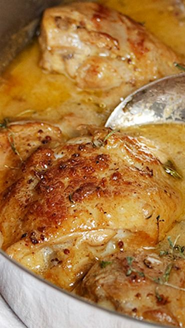 Chicken with Mustard Recipe ~ A delicious, one-pot dish that is quick and easy, but special enough for company.