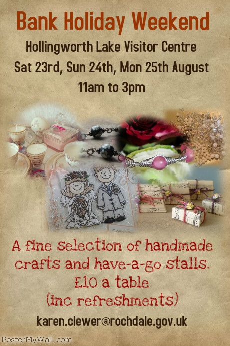 23rd of August, Bank Holiday Saturday11am-3pm come and see MisHelenEous at Hollingworth Lake Visitor Centre craft Fair! Milnrow, Rochdale