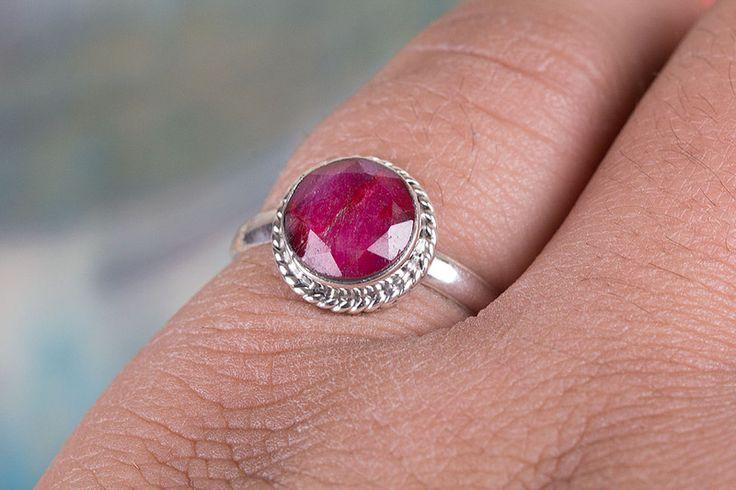 Anelli argentati - Rubino Anello, Ruby anello della pietra preziosa - un prodotto unico di ArtisanJewellery su DaWanda