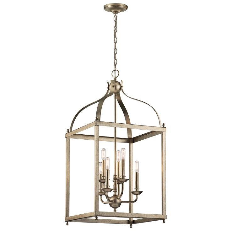 larkin 6 light foyer chandelier in sterling gold sgd - Foyer Chandeliers