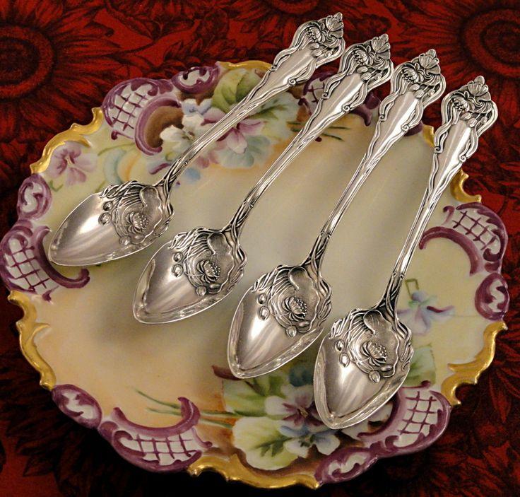 Antique Art Nouveau 1905 NENUPHAR Lily Citrus Grape Fruit Spoons American Silver Plate