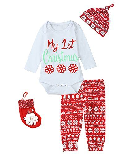 2d29e1fe4 christmas outfits pajamas - Baby Girls Boys My 1st Christmas 5PCS ...