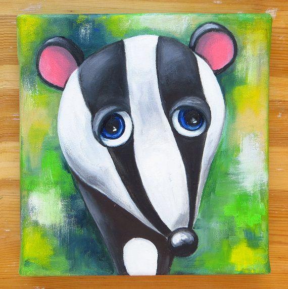 Badger Portrait Original Art Animals Oil on canvas by MikiMayoShop