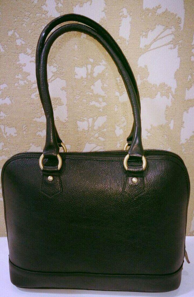 100% Genuine Buffalo Leather Elegant  Everyday Formal Handbag - Black