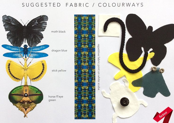 Fabrics- and Palette-Board for an 'Under the Microscope' theme [2nd Year 2015]