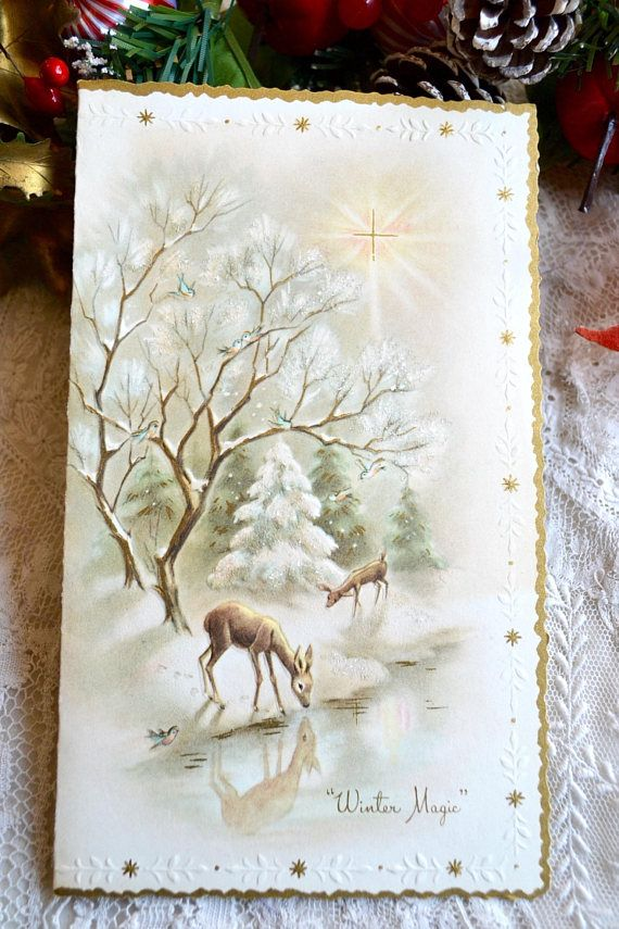 This Vintage Christmas Card Is In Used Condition Writing Inside There Old Tape And Back The Front Fine Shape Glitter Accents