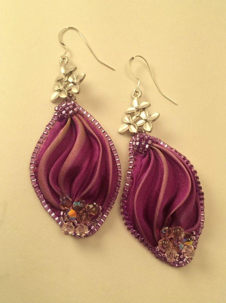 OOAK -bead embroidery -shibori ribbon -crystals -earrings -jewellery by SarahDekkerDesigns on Etsy https://www.etsy.com/listing/226005737/ooak-bead-embroidery-shibori-ribbon