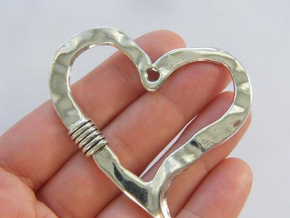 BULK 20 Always heart pendants antique silver tone H111