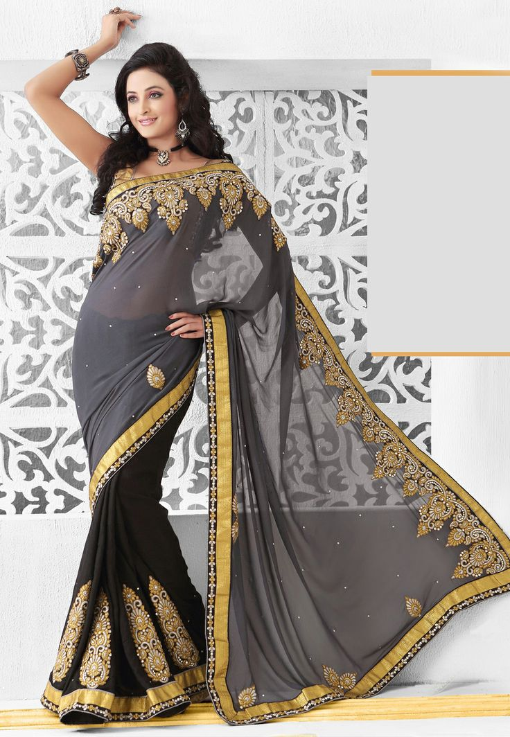#Grey and #Black Faux Georgette #Saree with Blouse @ $104.17