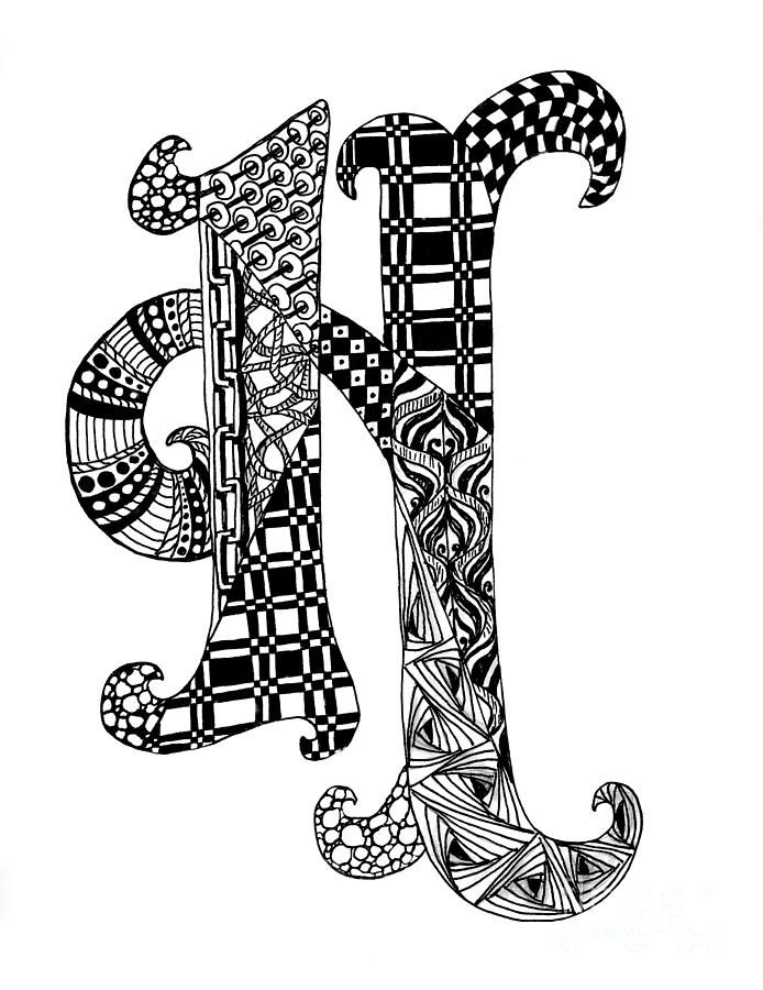 Zentangle Letter H Monogram In Black And White Drawing