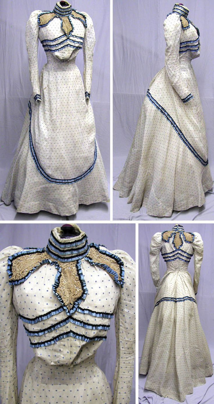 Daytime ensemble, 2 pieces, ca. 1890s. Cotton polka dot pattern in ivory and robin's egg blue trimmed with machine lace and silk ribbon. Skirt unlined. svpmeow1/ebay