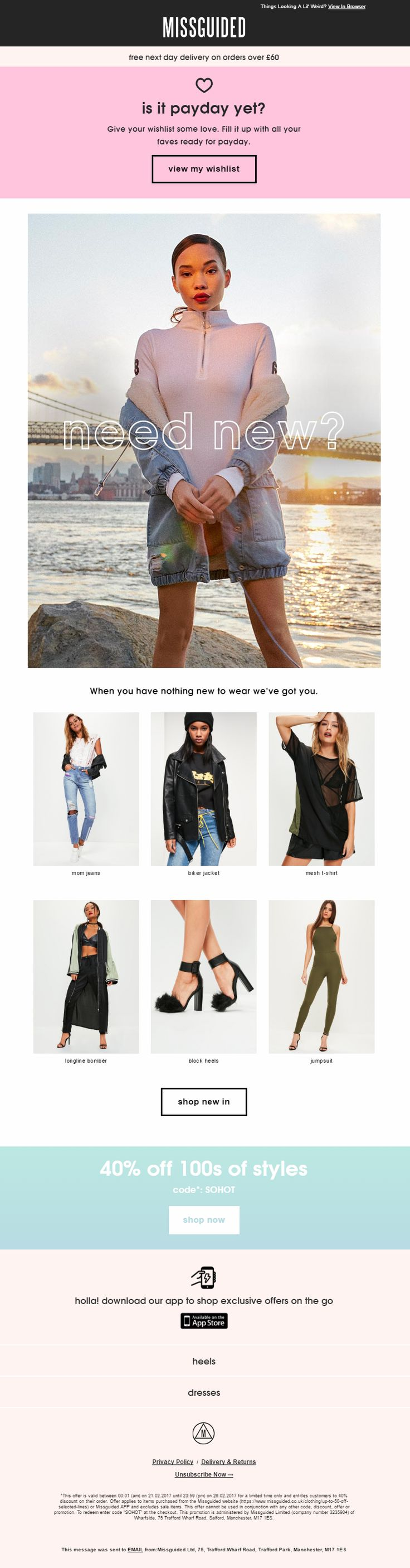 Wishlist Email from Missguided with Product Recommendations and Coupon code #EmailMarketing #Email #Marketing #Wishlist #Coupon #Product #Recommendations #Fashion