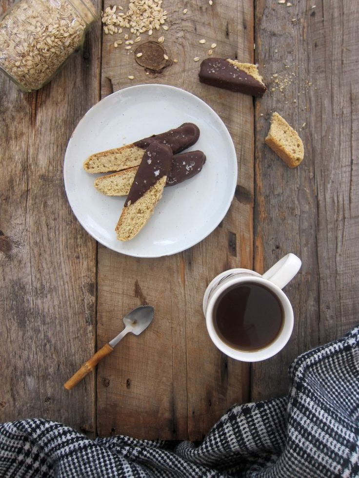 Everyone loves these cookies! Chocolate, oats and real maple syrup mix up to make these totally tasty, super awesome, vegan biscotti, if I do say so myself.