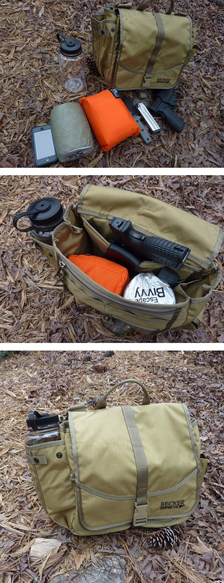 Becker Field Bag loaded for a day in the woods with SOL Escape Bivvy, SOLKOA Hunter Survival Kit, ESEE Model 3, phone and water bottle, plus heater.