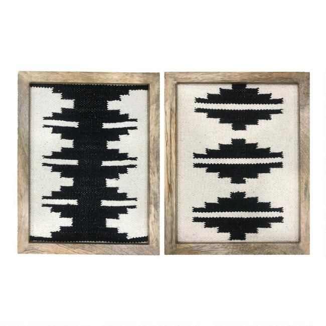 Black And White Southwest Textiles Framed Wall Decor 2 Piece Frame Wall Decor Textile Wall Art Black And White Decor