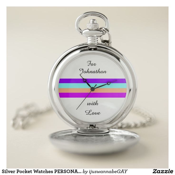 Elegant personalized Silver Pocket Watches with classic colorful stripe and YOUR OWN NAME printed on the dial. Print your own name using quick, easy name changer. Pocket watch makes for a perfect gift that will stand the test of time. 30 Day Money Back Guarantee. Ships Worldwide fast. Personalized Silver Pocket Watches with classic colorful stripe and YOUR OWN NAME printed on the dial, created by artist RjFxx *All rights reserved.$35.80