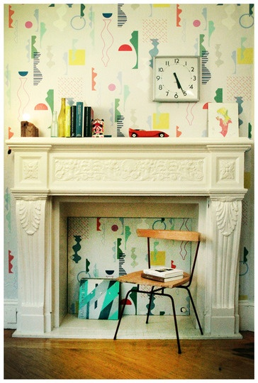 Adorable removable wallpaper from Timothy Sue.  Curvy shapes that make a sophisticated yet kid-friendly pattern.