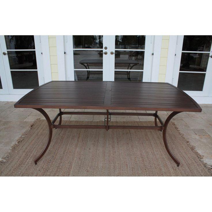 rectangular metal outdoor dining table aluminum patio glass hospitality rattan slatted umbrell