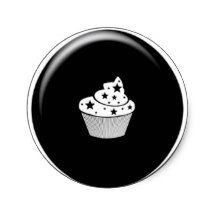 BIRTHDAYS cupcake button  STICKER