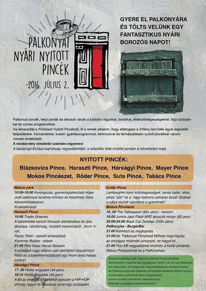 Palkonyai Nyitott Pincék, 2016. július 2, Palkonya