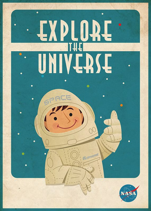 Vintage Space Poster Astronaut by artsyGalleree on Etsy, $27.00