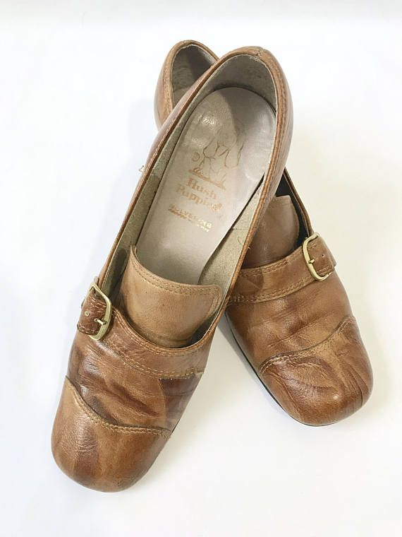 Vintage Leather Buckle Ladies Chunky Heel Hush Puppies