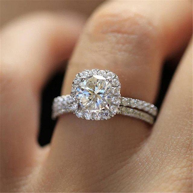 Zorcvens Classic Engagement Ring Set Square Design Aaa White Cubic Zircon Fem Round Halo Engagement Rings Classic Engagement Ring Set Halo Engagement Ring Sets