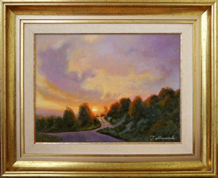Obraz olejny w ramie, zachód słońca autor Tomasz Mrowiński