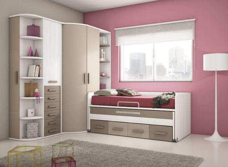 Dormitorio juvenil combinado en moka arena y blanco.